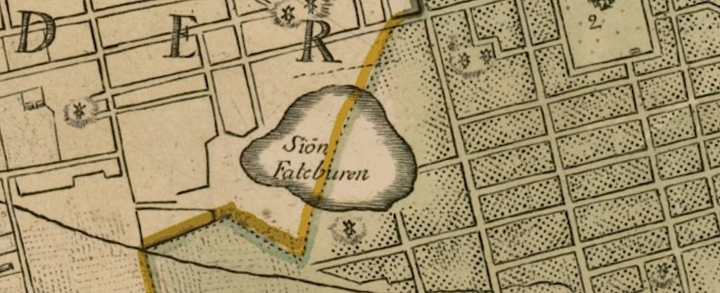 Karta över Södermalm och sjön Fatburen, ca: 1650