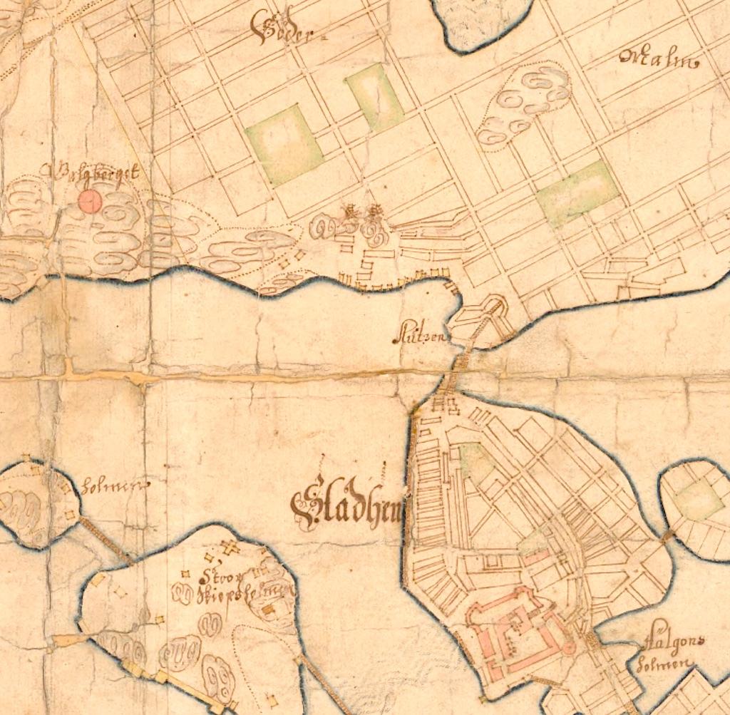 Karta från 1652 över Gamla stan och delar av Södermalm