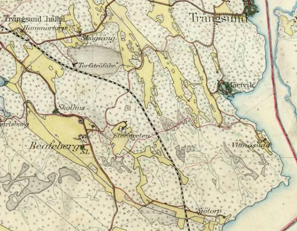 Karta från 1901 över det som i dag heter Skogås-