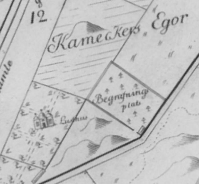 Karta från 1733 visar begravningsplatsen där Stureparken ligger i dag