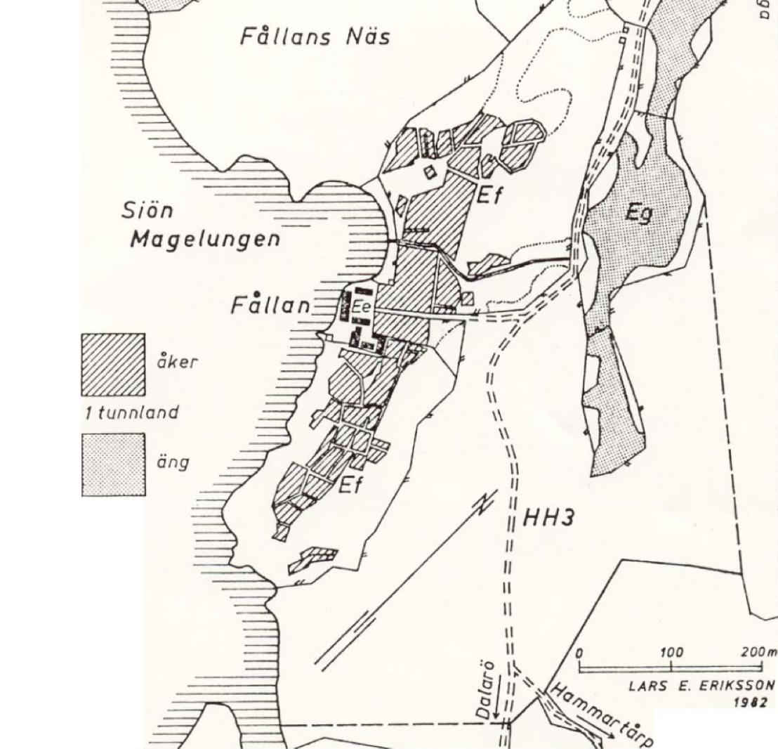 Karta som visar hur Fållan såg ut 1758