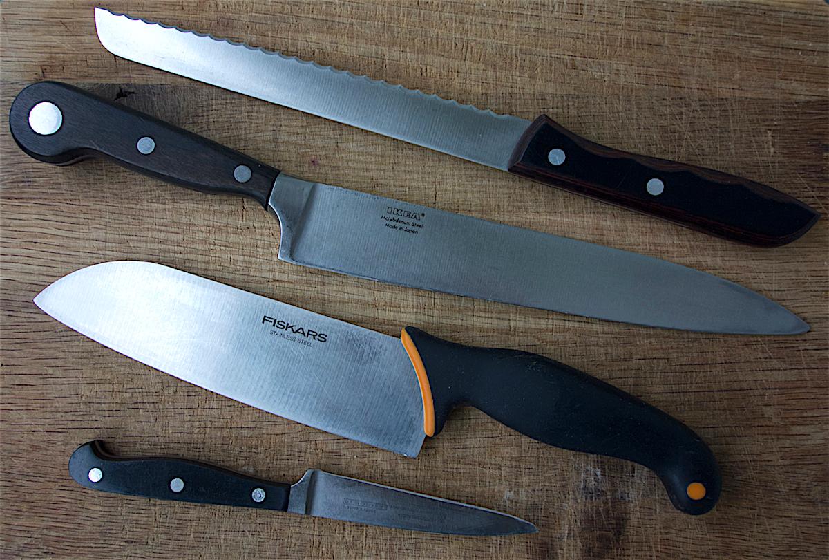 Mina köksknivar som jag beskriver i texten