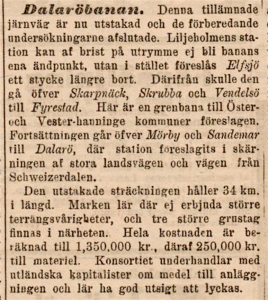 Tidningsartikel om Dalaröbanan