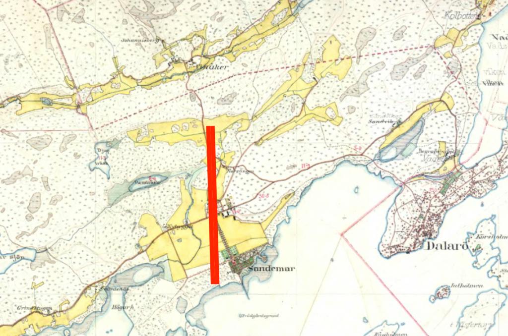 Karta över tänkt flygbana i Sandemar